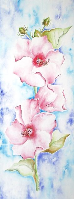 """""""Pink Hibiscus"""" watercolor on paper"""