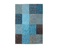 Alfombra de patchwork Vintage, turquesa y topo -80x150 cm