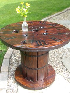 THIS TABLE IS SOLD. HOWEVER I HAVE ANOTHER SPOOL, SLIGHTLY LARGER, THAT IM STARTING TO WORK ON NOW THAT WILL BE AVAILABLE SOON. STAY TUNED! I
