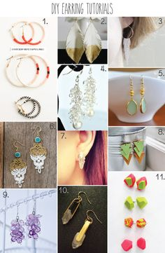11 DIY Earring Tutorials - part of a huge roundup of 51 DIY Jewelry Tutorials!