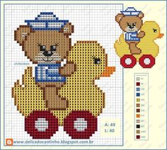 Teddy on ducky -- perler beads Cross Stitch For Kids, Cute Cross Stitch, Cross Stitch Animals, Cross Stitch Kits, Cross Stitch Charts, Cross Stitch Patterns, Cross Stitching, Cross Stitch Embroidery, Pixel Crochet Blanket