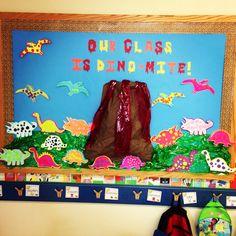 preschool dinosaur doors and bulletin boards Dinosaur Bulletin Boards, Toddler Bulletin Boards, Dinosaur Classroom, Elementary Bulletin Boards, Dinosaurs Preschool, Dinosaur Activities, Preschool Bulletin Boards, Dinosaur Crafts, Classroom Fun