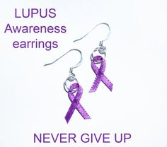 Lupus Awareness Earrings Purple Ribbons by CMCCreations on Etsy, $0.60