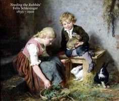 'Feeding the Rabbits' Felix Schlesinger 1833 – 1910