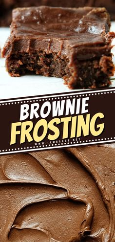 Icing For Brownies, Brownie Icing, Frosted Brownies, Brownie Desserts, Brownie Recipes, Cake Recipes, Simple Chocolate Frosting Recipe, Icing Recipe, Yummy Quick Desserts