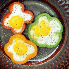 Slice a bell pepper into thick rings (make sure the slices are neat). Heat a non stick pan and place rings down in it. Crack an egg Into the ring and wait for it to cook through. Season with salt/pepper.