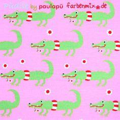 Püdile tricot, roze met krokodillen - kleurenmix