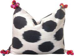 Ikat Pom Pom Pillow Lumbar size