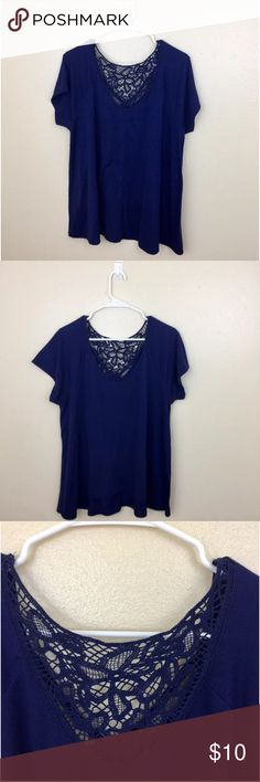 """Cute Boho Crotchet Back Top Super cute and perfect for the summer. Bust:21"""". Length:25"""" Tops Tees - Short Sleeve"""