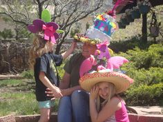 Crazy Hats . Get creative using dollar store and thrift store finds. Grandkids had fun make hats to wear to the Party