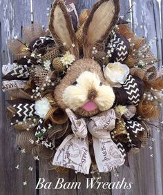 Easter Wreath Rustic Easter Wreath Modern Easter by BaBamWreaths