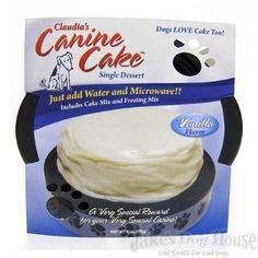 The First Canine Microwaveable Cake! Just Add Water! Includes cake mix and frosting packets for a delicious cake that is just perfect to celebrate your dogs birthday or any special occasion.
