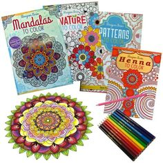 Set of 4 Designer Series Adult Coloring Books AND 12 Color Pencils ONLY $9 Shipped ~Mama Bees Freebies