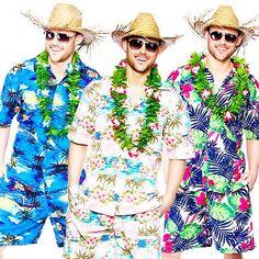 PINK 2 PIECE HAWAIIAN CAPTAIN COSTUME SHIRT AND HAT SUMMER FANCY DRESS BBQ PARTY