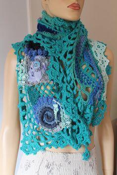 Sale  20% OFF Unique Boho Chic Blue Turquoise Freeform Crochet