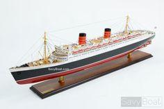 Wood Cutaway Model of Queen Elizabeth 2 Made in the USA