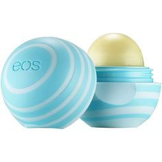 EOS Lip Balm ($3), conditions lips with shea butter, vitamins C & E, 99% natural, no added color, can wear with any lipstick