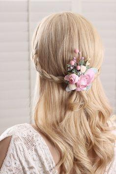 Bridal flower hairpiece floral hair clips wedding by GadaByGrace