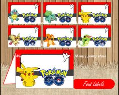 Pokemon Food Tent Labels Red & White от NineLivesNotEnough