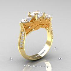 Nature Classic 14K Yellow Gold Three Stone White Sapphire Diamond Laurel Leaf Solitaire Ring R800N-14KYGDWS | ArtMastersJewelry