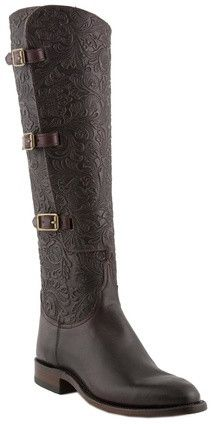 Lucchese Polo L4994.RR Womens Lieutenant Cordovan Horse Front Tooled Floral Embossed Boots
