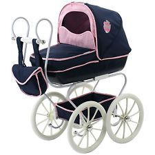 New Shabby Chic Vintage Look Classic Navy Dolls Pram With Matching Bag.