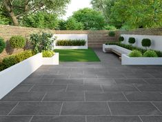 Granito Black Outdoor Matt Porcelain Slab Tiles - Granito Outdoor Slab from Tile Mountain Modern Backyard, Small Garden, Garden Tiles, Backyard Landscaping Designs, Back Garden Design, Modern Backyard Landscaping, Minimalist Garden