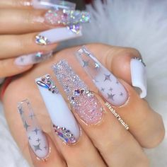 Are you looking for long nail art? See our interesting collection of long nail designs. If you are someone who likes long nail art, here are the long nail art designs you like, choose some designs you like and try. Bling Acrylic Nails, Summer Acrylic Nails, Glam Nails, Best Acrylic Nails, Bling Nails, Coffin Nails, Coffin Acrylics, Disney Acrylic Nails, Pointy Nails