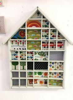 Shabby Vintage Setzkasten Haus Graziela Stoff weiß von Kram-Laden auf DaWanda.com