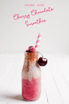 Vegan and sugar-free ingredients blend together to create this elegantly layered Cherry Chocolate Smoothie. Enjoy it as a sweet breakfast or for a healthy dessert! #breakfastsmoothie #proteinsmoothie #vegan #glutenfree #sugarfree