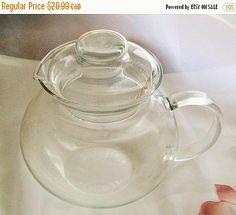 Retro teapot  clear glass teapot  coffee pot  by NewtoUVintage