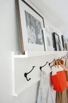 DIY photo ledge with wall hooks // front entryway coat hooks