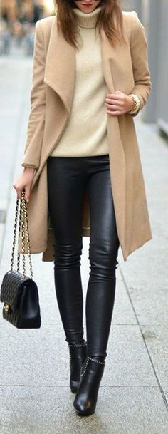Take a look at the best faux leather leggings outfit in the photos below and get ideas for your outfits! This leather leggings outfit is so cute for fall or winter! Winter Office Outfit, Fall Winter Outfits, Autumn Winter Fashion, Fall Fashion, Winter Style, Winter Chic, Outfit Office, Dress Winter, Holiday Outfits