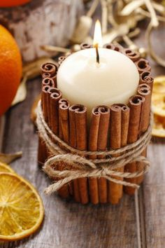 Cinnamon stick candle holder DIY project: Use hot glue to make the cinnamon stick . Cinnamon stick candle holder DIY project: Use hot glue to attach the cinnamon sticks and wrap in gardening yarn. This is one of the ideas for great au. Christmas Candle Decorations, Christmas Candles, Christmas Diy, Fall Decorations, Natural Christmas, Diy Candle Holders Christmas, Scandinavian Christmas, Crafts To Make And Sell Unique, Christmas Crafts To Make And Sell