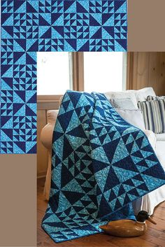 The North Wind two-color quilt from Easy Quilts takes just two fabrics and one super simple block to make. One of our favorite variations on this design is pairing a light and dark value of the same color. Another win for two-color quilts!