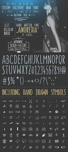 This font comes in Light, Regular and Bold. There is also a Symbols font with many useful hand-drawn symbols. Modern handwriting style, popular in web and print. Comes in .ttf, and .off formats, easy to use – just extract the .zip file and double click on the fonts to install. Download: http://graphicriver.net/item/handwritten-font-anorexia-/10986482?ref=ksioks