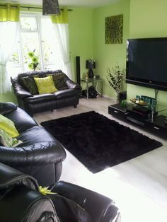 Green And Black Living Room Decorating Ideas With Images Black