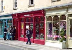 Cute Shops | Bath, England #shop #store #window #fronts #red #blue
