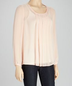 Look what I found on #zulily! Lotus Sheer Pleated Long-Sleeve Top by Michael Brandon #zulilyfinds