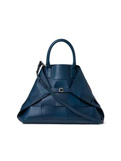 Akris Medium AI Braided Leather Tote | SaksFifthAvenue Medium Tote, Braided Leather, Blue Bags, Calf Leather, Luxury Fashion, Fashion Beauty, Messenger Bag, Gym Bag, Shoulder Strap