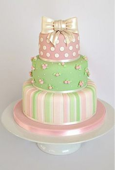 Pink, Pearl and Green Stripes, Flowers & Polka Dots Cake