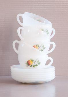 Winter Sales Vintage French Milk glass Tea Cups and Saucers | Arcopal Cups | Decor Fruits de France | 60's vintage Tea cups | French Milk Glass by SoFrenchBrocante
