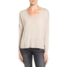 Women's Madewell 'southstar' Merino Wool Pullover Sweater ($50) ❤ liked on Polyvore featuring tops, sweaters, marled dune, marled pullover sweater, pink sweater, sweater pullover, pullover tops and madewell sweater