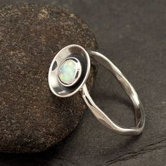 Opal ring with hammered band - $48 on etsy