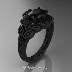 d2c906eb243d Art Masters Nature Inspired 14K Black Gold 1.0 Ct by DesignMasters Anillos  Únicos