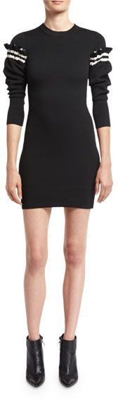 3.1 Phillip Lim Sweater Dress W/ Ruffled Sleeve Detail, Black