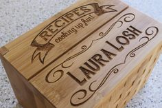 Personalized Recipe Box, Custom Recipe Box, Engraved Wood Recipe Box