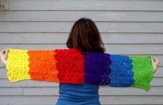 Rainbow Crochet Prayer Shawl Women's  Handmade by amydscrochet