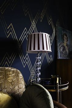 Gorgeous navy wall with VN7 chain lightning stencil!