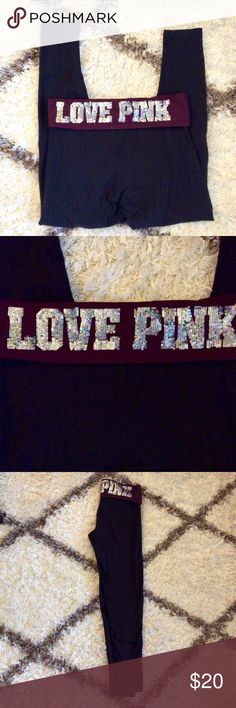 Victoria's Secret PINK Full Length Yoga Legging Has a maroon waistband with LOVE PINK in sequins on back of band.  Full Length.  In great condition. PINK Victoria's Secret Pants Leggings